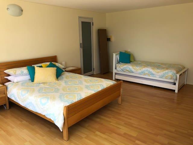 Queen bed and trundle - bathroom door