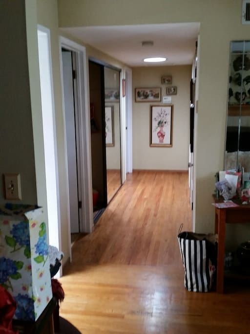 Hallway from Living room with Solartube Skylight.