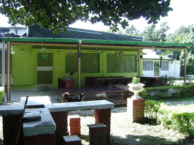 Farmhouse in city centre with lawn & ducks