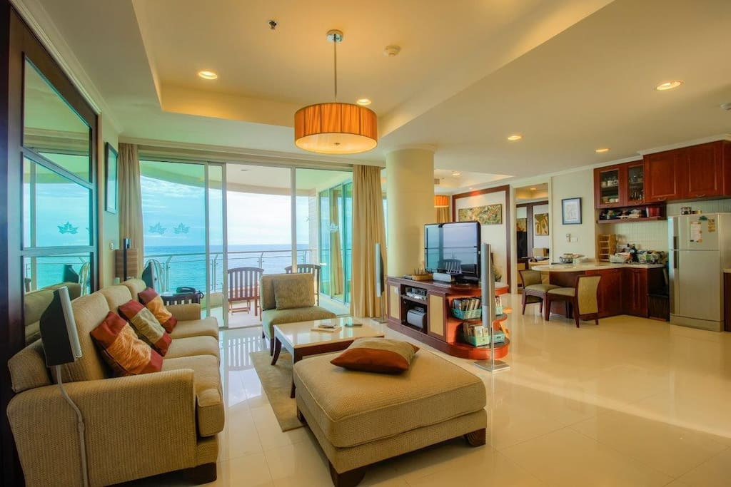 Living Room with Ocean View Balcony
