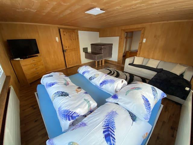 Wohnzimmer / auf Wunsch mit zusätzlichem Doppelbett