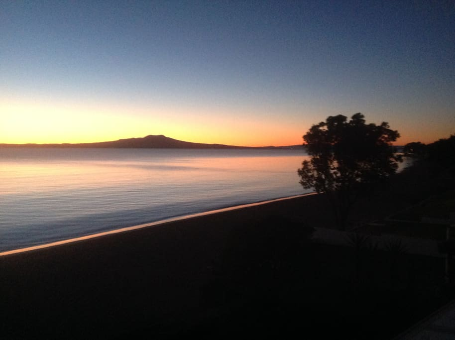 Magnificent view of Rangitoto Island just before the sun rises
