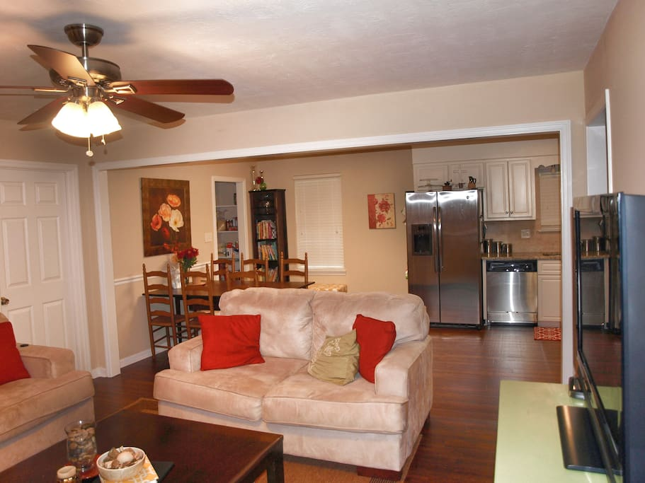 Open living/dining/kitchen area.