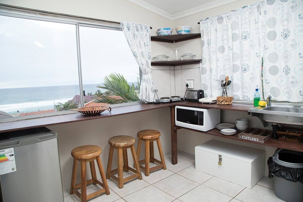 Kitchen area with fantastic sea views