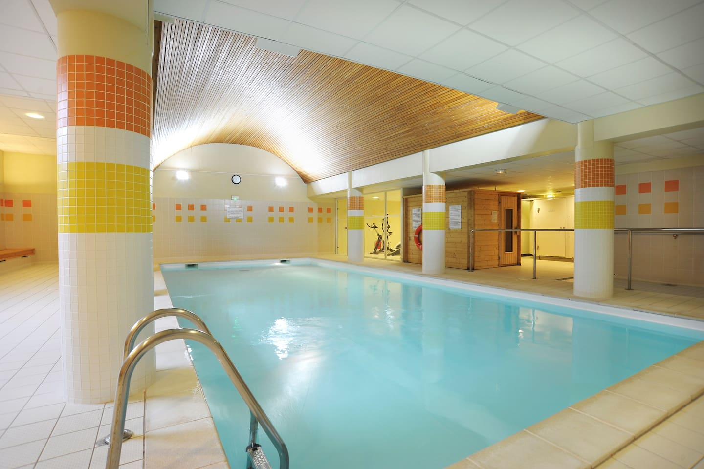 Dive into the indoor pool after a wonderful day outside.