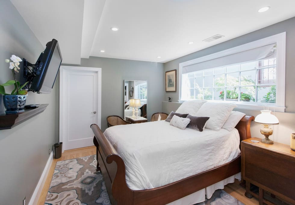 """View of the suite from the hall door. Westin """"Heavenly Bed"""" plus luxury Pottery Barn linens."""