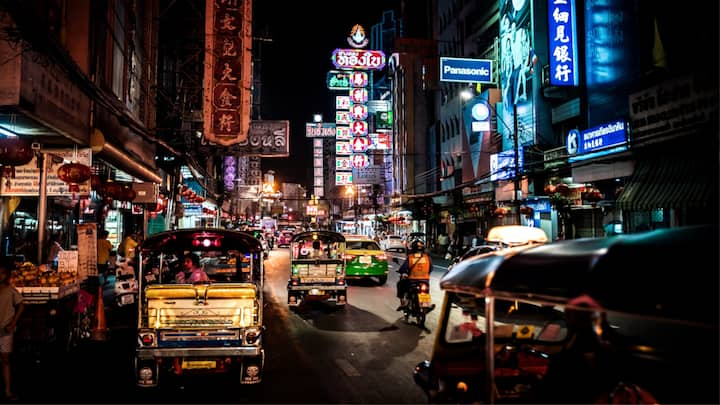 Neon lit atmosphere of  Chinatown