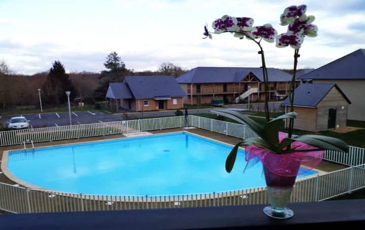 Studio cosy ac piscine proche de Honfleur - 10 min