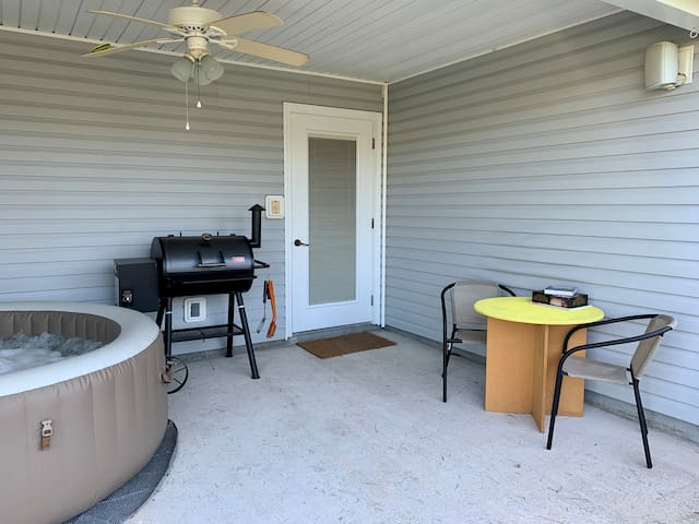 Guests have full access to the grill and outdoor area.