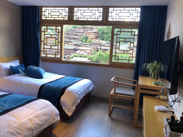 超大窗户!全景标准间 2张床!智能马桶中央空调!