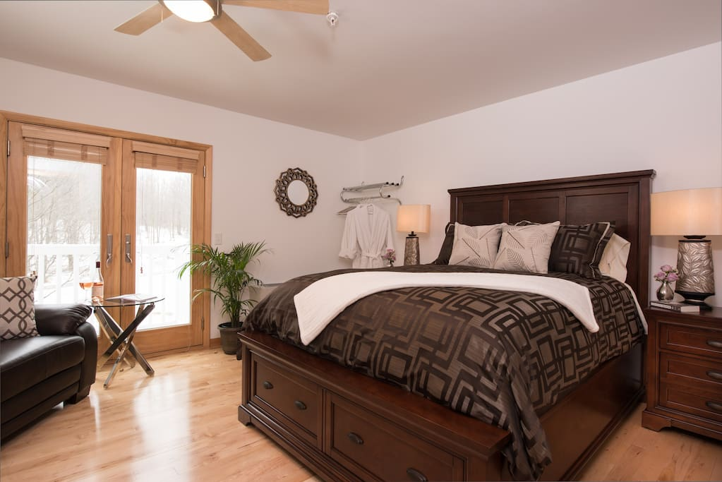 Ultra comfy Queen Bed at River Spring Lodge in Darien Center, NY.