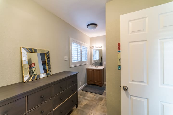 Master bathroom is large enough for multiple people to get ready!