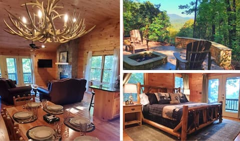Luxury Cabin! View, Hot Tub, 2 Fireplaces, Firepit