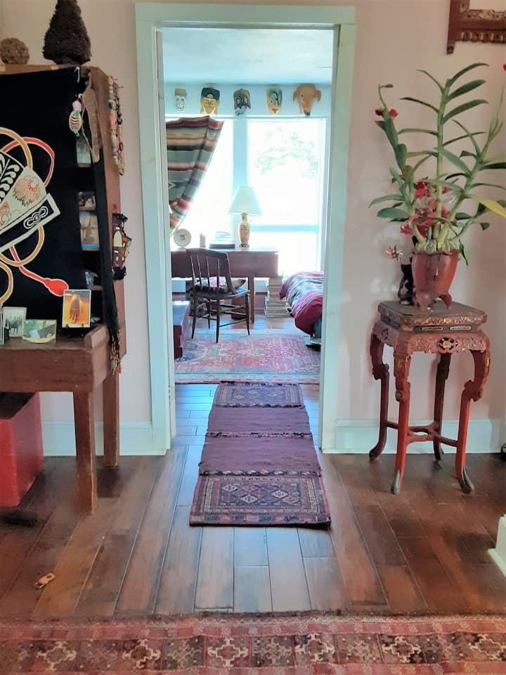Exotic Library in White Barn artist's home