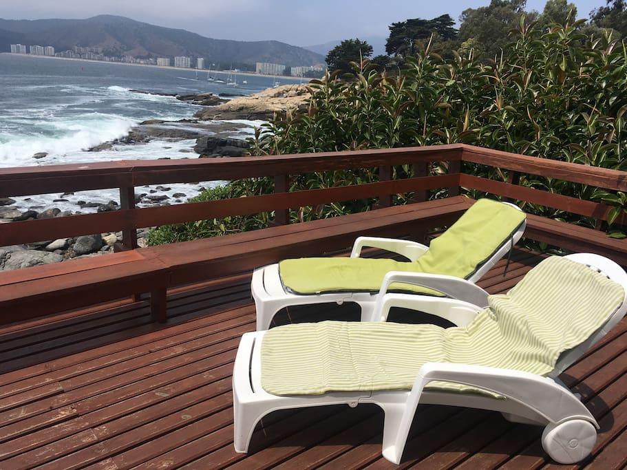 sensacional lugar de descanso con vista al mar.