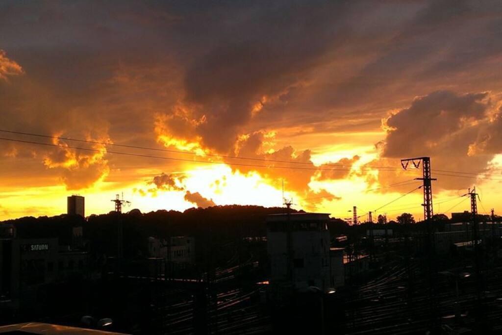 romantic urban sundown from the balcony
