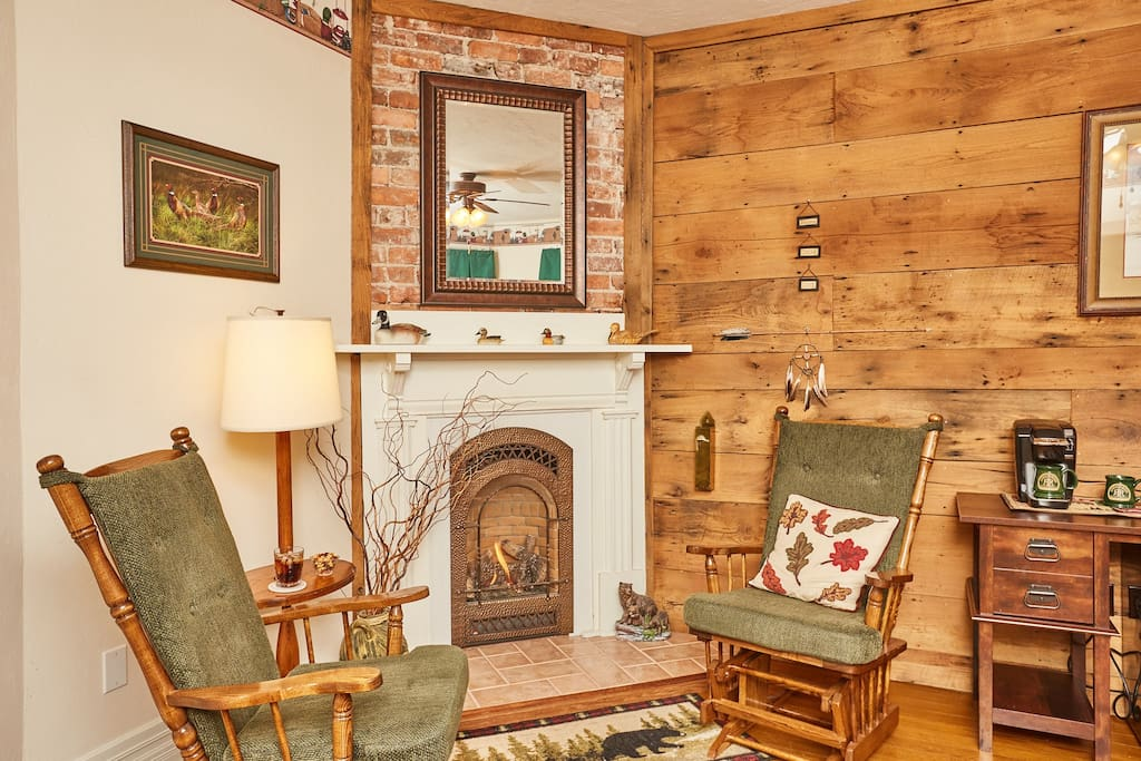Comfy seating area and working fireplace