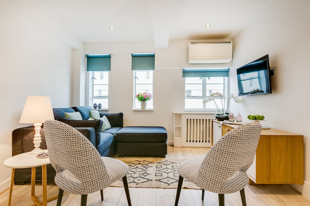 Comfy living area with freeview TV and 100mb wifi plus comfy sofa bed and chairs