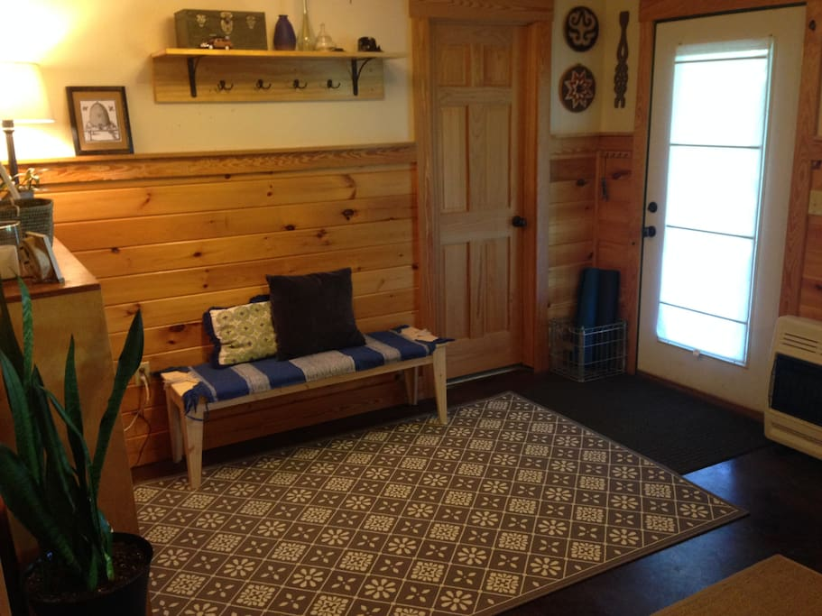 The entryway gives you plenty of room to put your things down so you can relax after traveling. Yoga mats & weights are provided for guest use as well as sunblock, insect repellent, hats, umbrellas & flashlights, cooler, picnic blanket & water bottles.