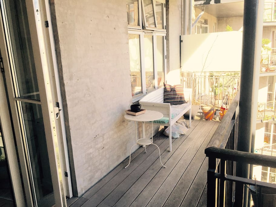Large balcony to enjoy the warm weather, overlooks our quiet green courtyard