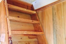 Loft ladder with beaver-chewed handrail