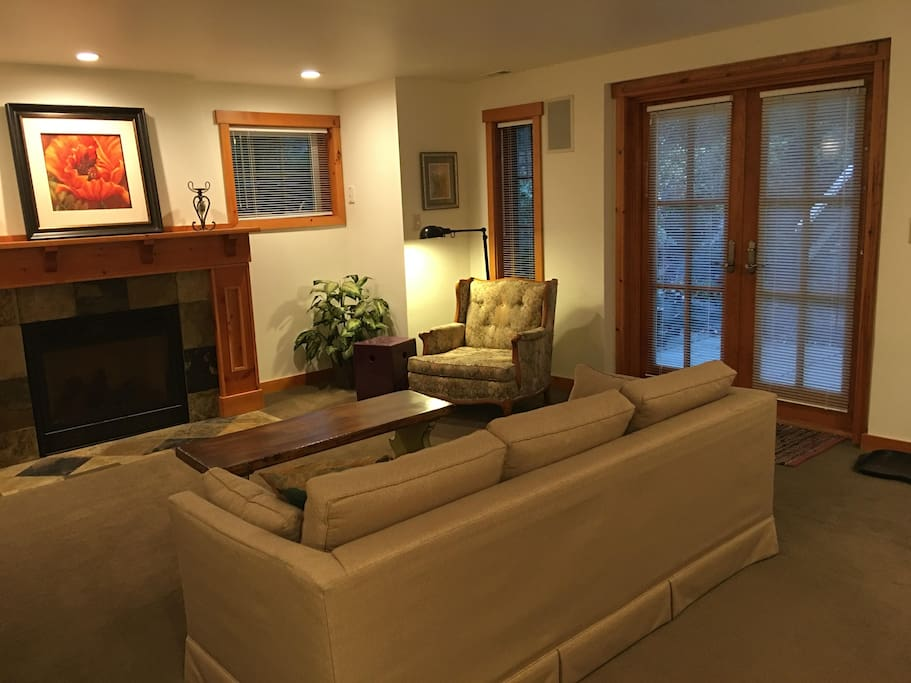 Living Room view of Fireplace and French Doors