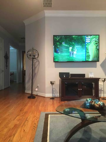 Enjoy watching more than 300 channels on cable .  Three different areas of the house.