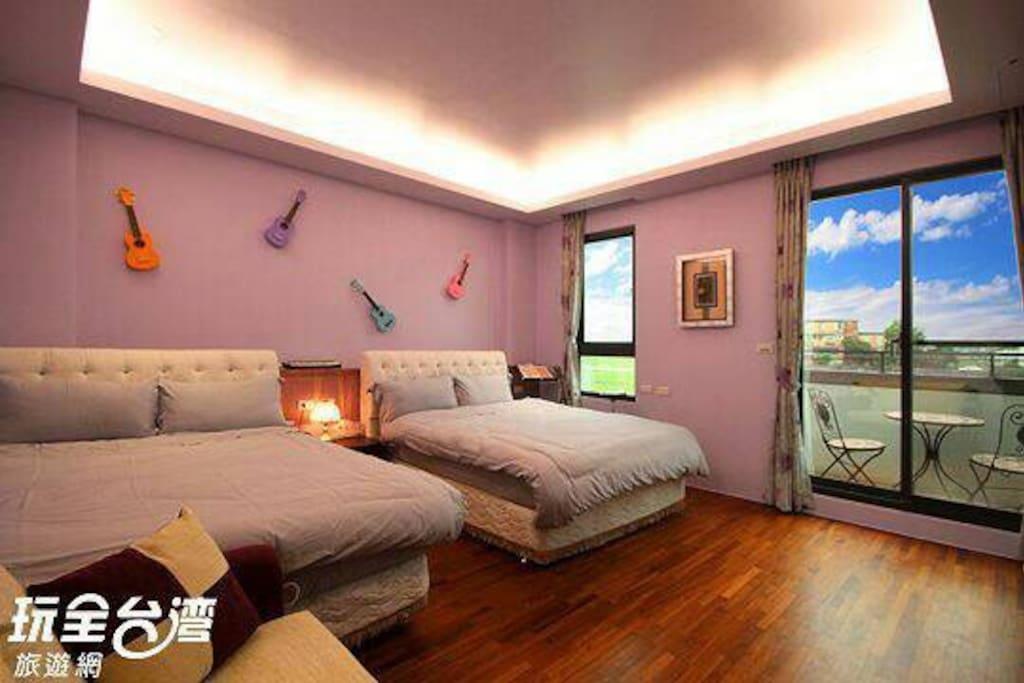 紫丁香音樂風四人套房