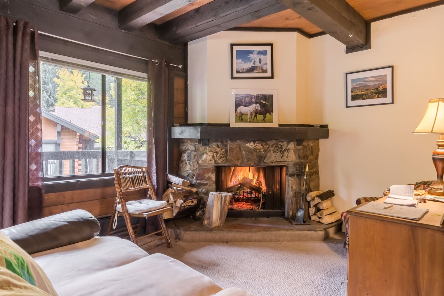 Main living room stoned wood Burning fireplace...a shared space