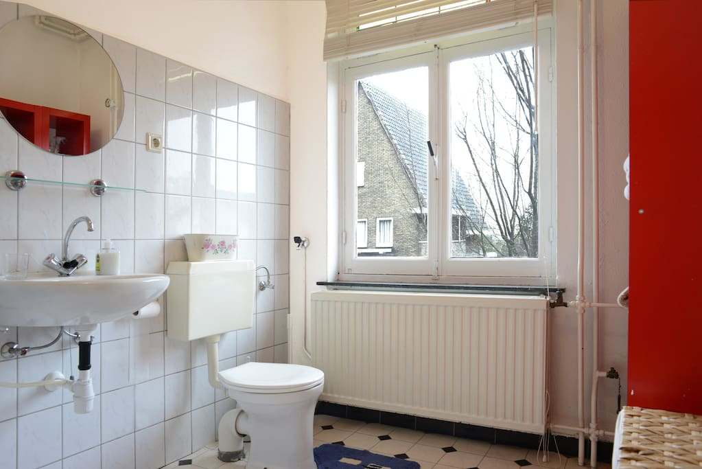 Bathroom with shower and 2nd toilet. Bathtowels are in the cupboard