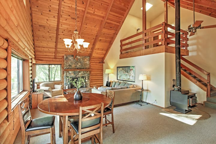 Boasting 2,200 square feet of tastefully appointed living space, this Tahoe-style log cabin  is perfect for your next mountain retreat.