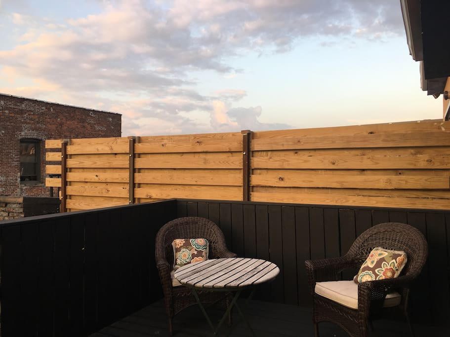 The private deck is great for relaxing after a long day in the big Apple!