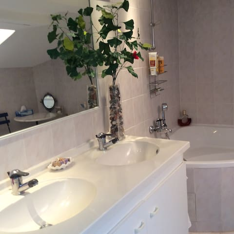 Salle de bain avec baignoire et wc