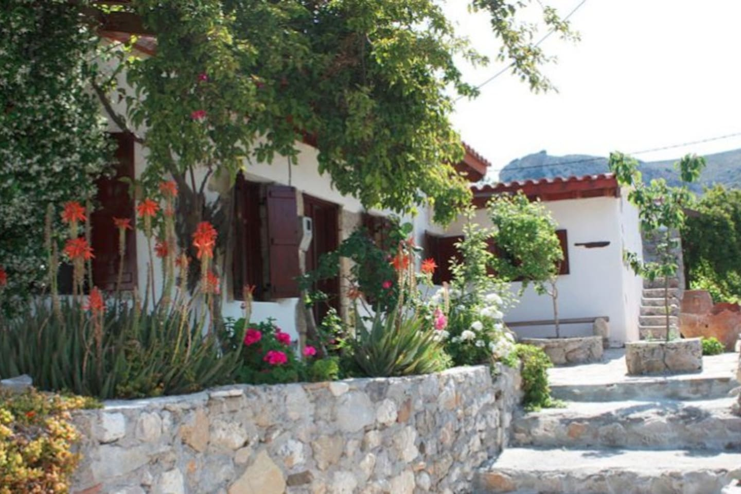 The house is set in a magnificent natural bowl, surrounded by mountains. The village has is own 2km Gorge. The area is perfect for walking holidays but still only 20 minuets drive to some magnificent sandy beaches and a seaside town.