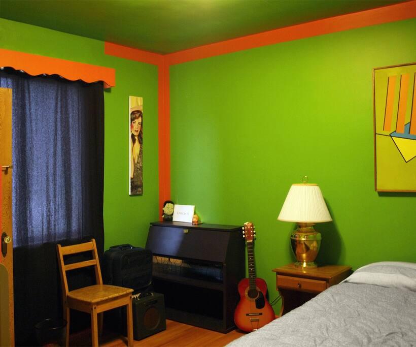 Inside the Green Room, featuring interchangable art.