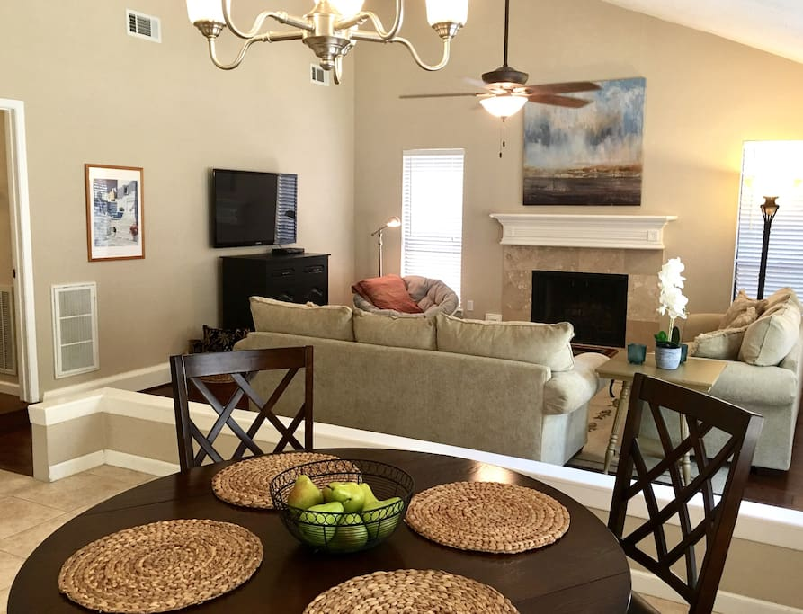 The dining and living areas share the room, creating a wonderfully open atmosphere.