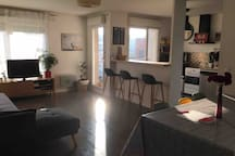 Grand salon avec cuisine ouverte et canapé convertible.