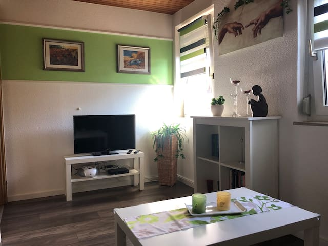 Flat Screen TV mit SAT Receiver im Fernseh-/Wohnzimmer, anderer Blickwinkel
