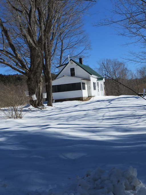 Winter view of the side of the house