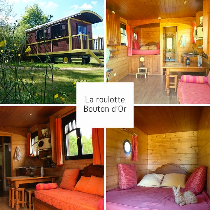 Roulotte jaune près Amboise/Chinon/Chenonceau