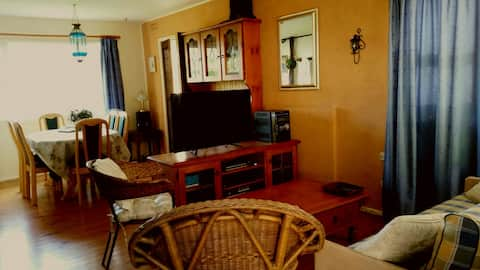"55 "" flatscreen great TV and mobile phone reception. Free WiFi."