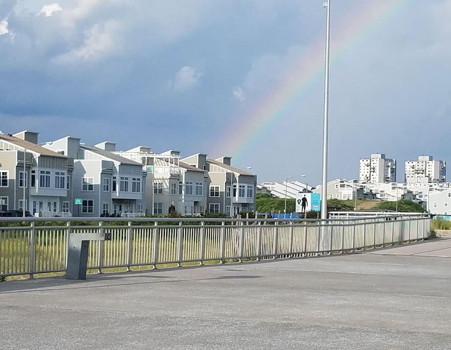 Rainbow over the NYC beach house
