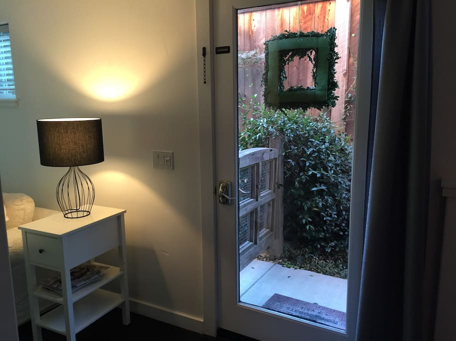 Lovely glass front door with keypad