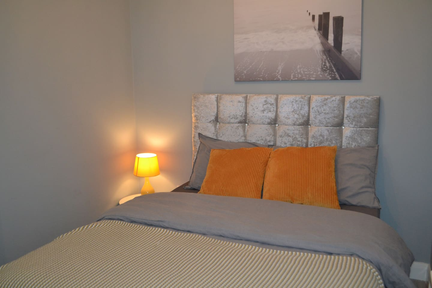 Beautiful brand new bed, cosy modern room.