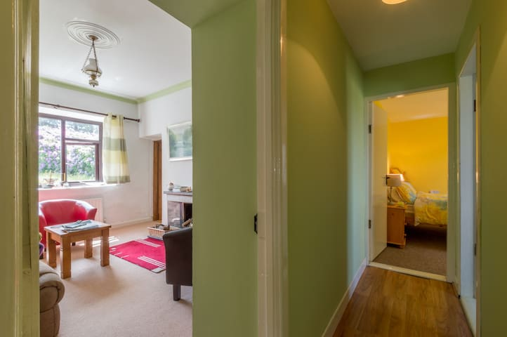 Over the years, built on rooms meant hallways going everywhere at right angles; view into the living room and the yellow room at the end of the corridor.