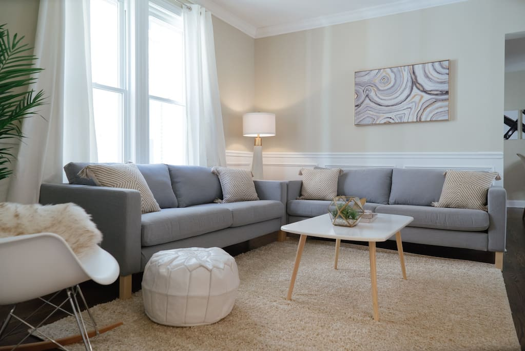 Relax and Lounge in this comfy yet modern living room.