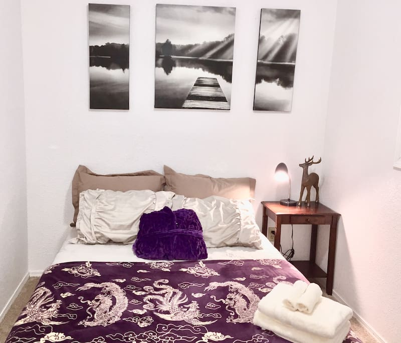 Cozy and comfy room with warm fluffy linens for a good nights sleep.