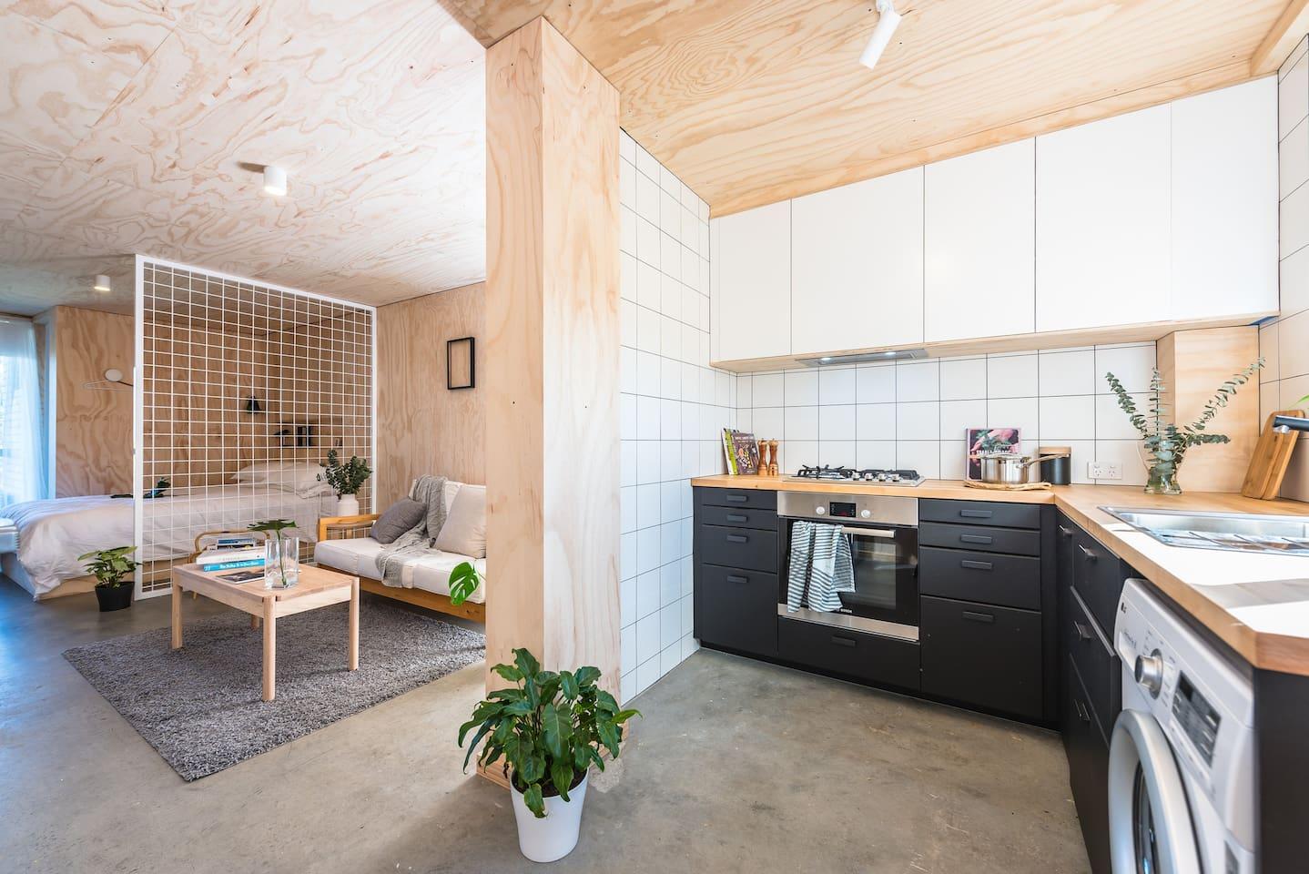studio || kitchen + living + bedroom space