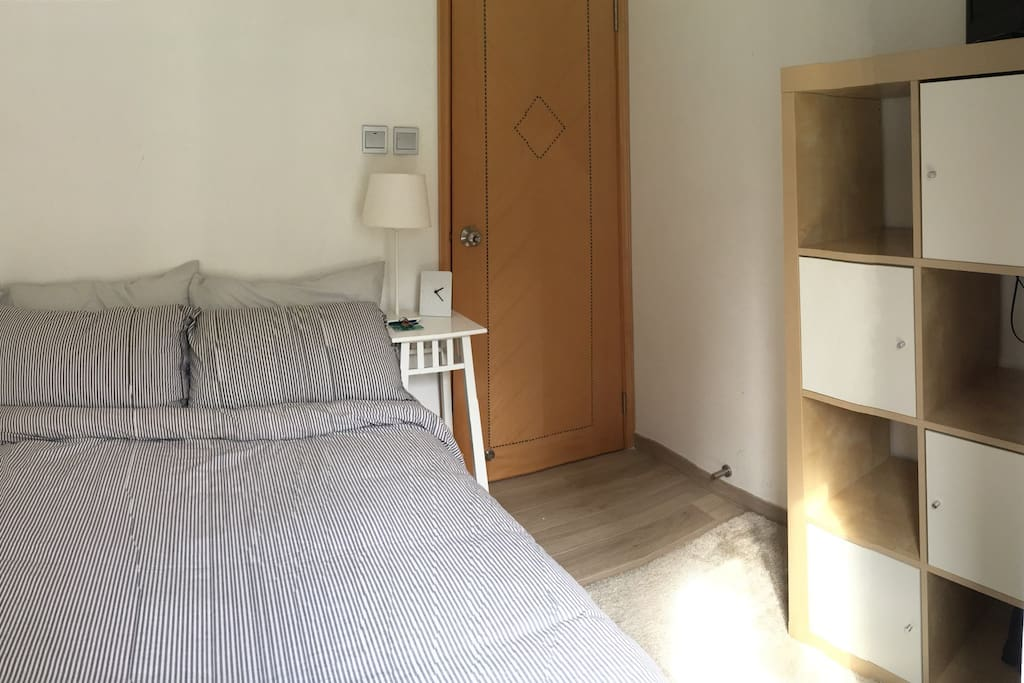 Your double bedroom with double bed & wardrobe