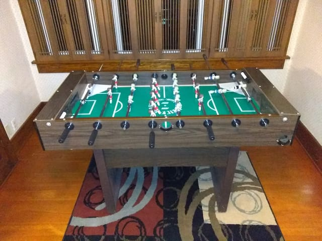 Foosball table for fun.